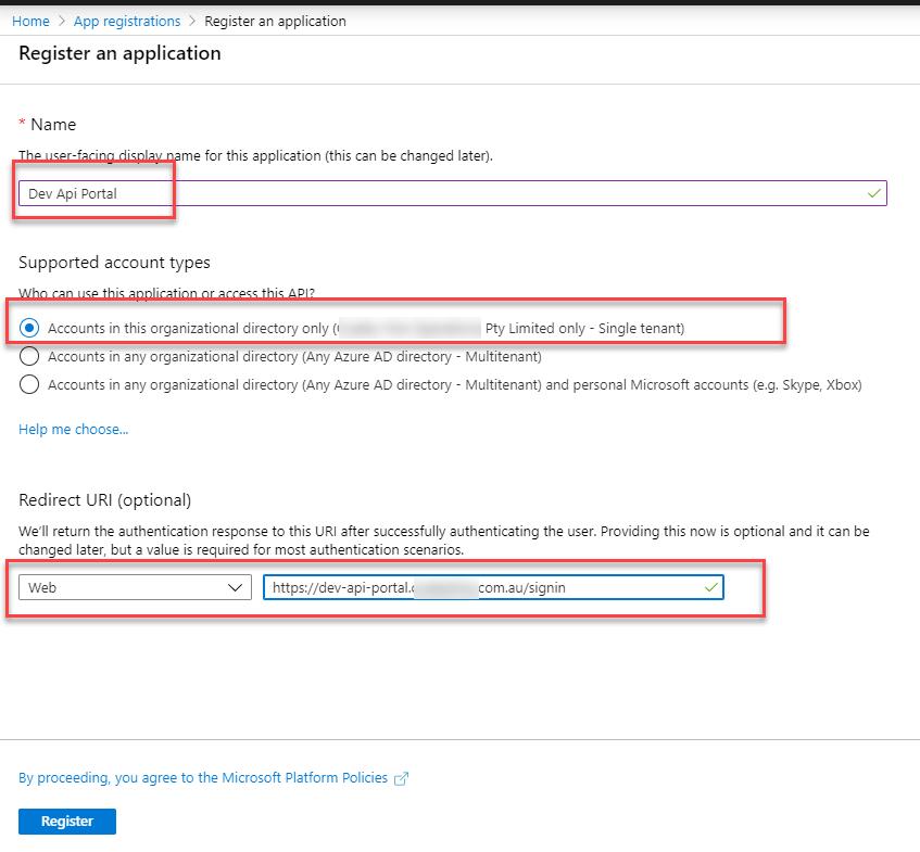 Register APP in Azure AD