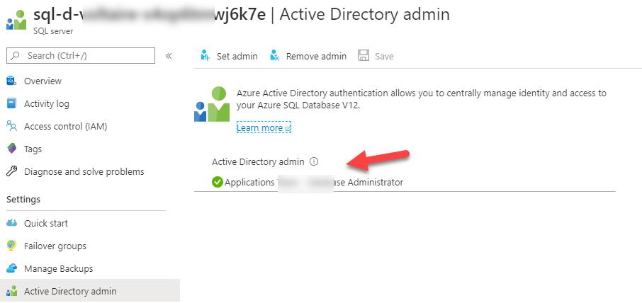 Azure SQL Set Azure AD ADmin