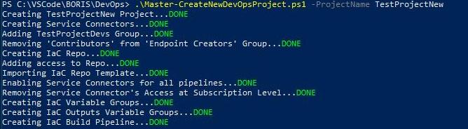 DevOp Project Creation via PS
